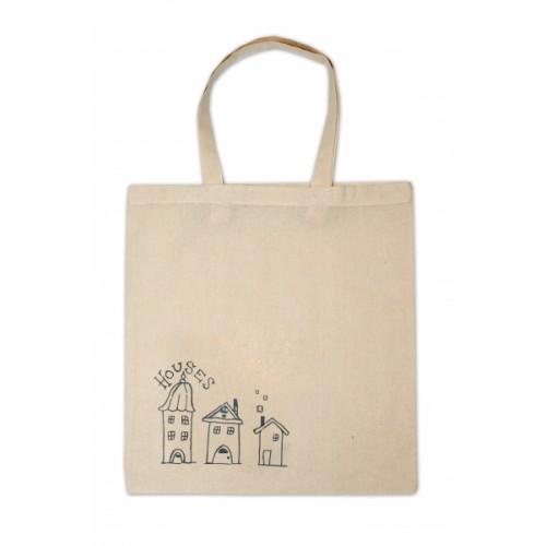 Detská bavlnená taška k vyfarbenie - Domčeky