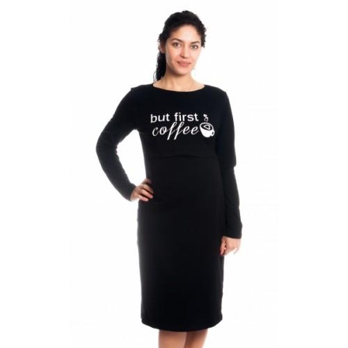 Be MaaMaa Tehotenská, dojčiaca nočná košeľa But First Coffee - čierna, veľ. L/XL, B19