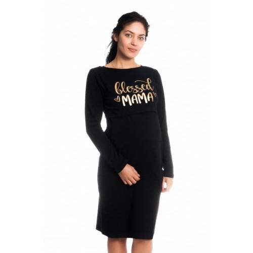 Be MaaMaa Tehotenská, dojčiaca nočná košeľa Blessed Mama - čierna, veľ. L/XL, B19