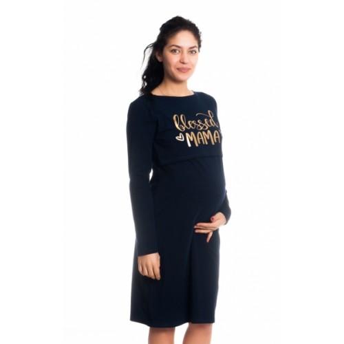 Be MaaMaa Tehotenská, dojčiaca nočná košeľa Blessed Mama - granátová, veľ. L/XL, B19