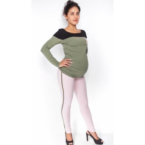 Be MaaMaa Tehotenské nohavice z lampasem - sv. růžové, veľ. M